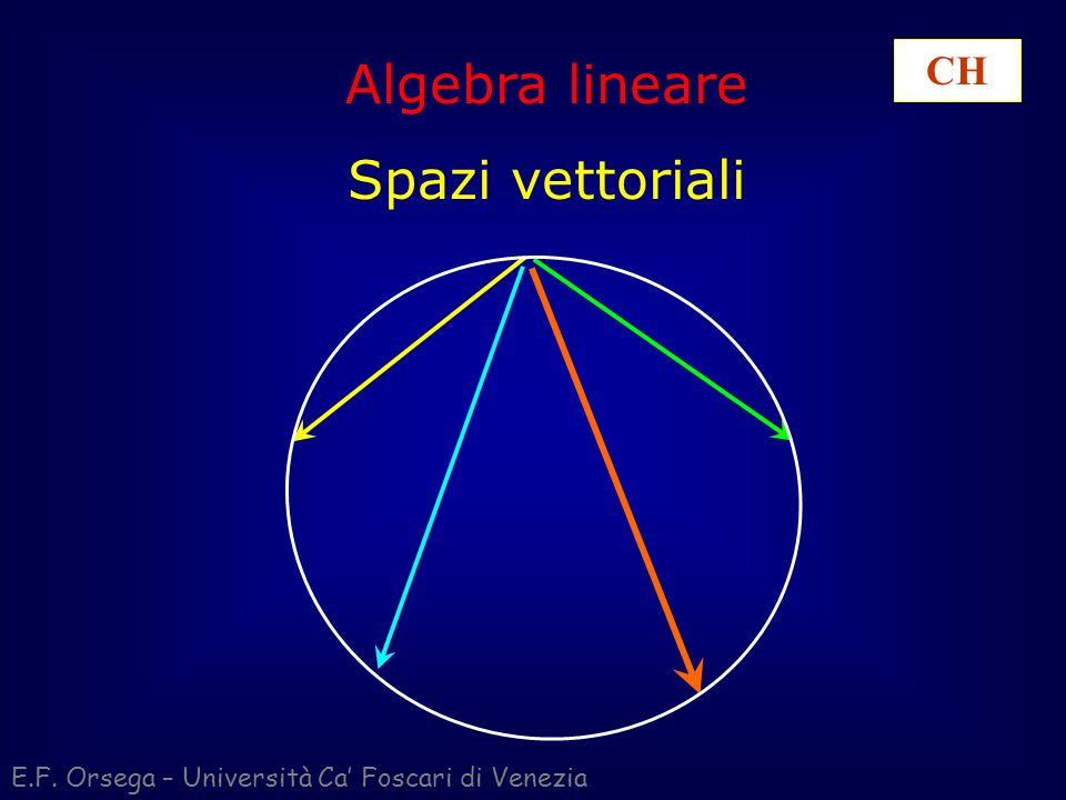 Algebra lineare Spazi vettoriali E.F. Orsega – Università Ca Foscari di Venezia CH