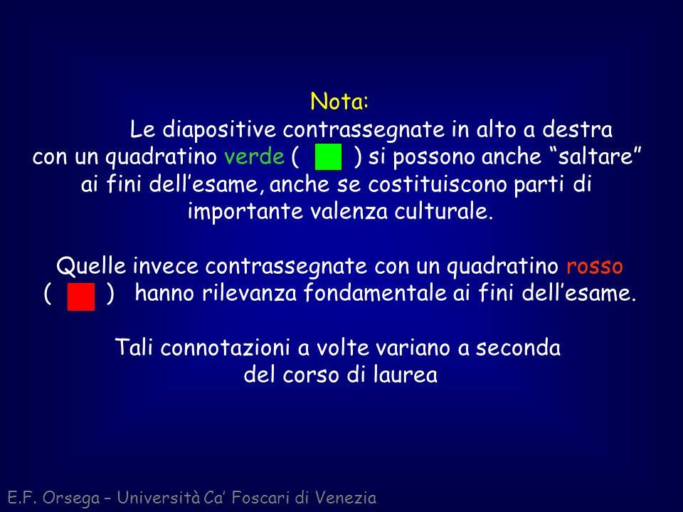 E.F. Orsega – Università Ca Foscari di Venezia Nota: Le diapositive contrassegnate in alto a destra con un quadratino verde ( ) si possono anche salta