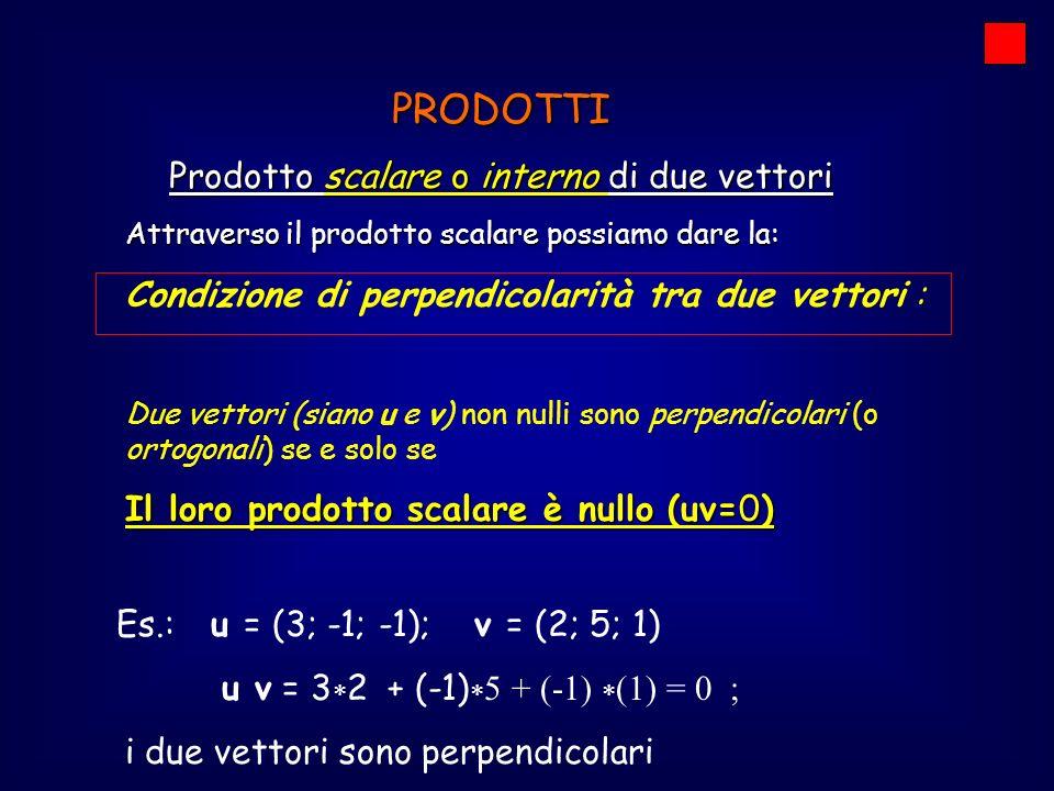 PRODOTTI Prodotto scalare o interno di due vettori Il modulo ( o norma) di un vettore Il modulo ( o norma) di un vettore di uno spazio R n (vettore a n coordinate): v = (x 1 ; x 2 ; x 3 ; … ; x n ) v = si può esprimere come la radice quadrata del prodotto scalare del vettore per se stesso (v x v = v 2 ): v = (v x v) 1/2 = (v 2 ) 1/2.