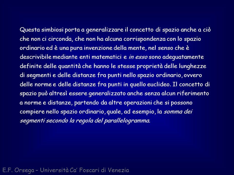 Calcolo vettoriale E.F. Orsega – Università Ca Foscari di Venezia