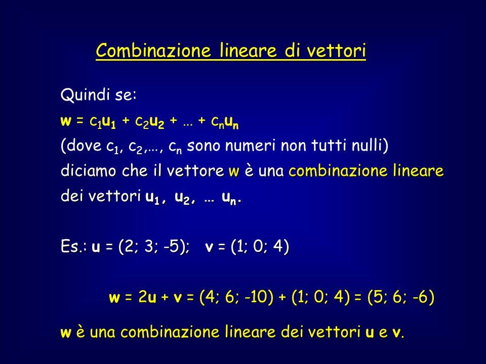 Dipendenza lineare tra vettori N vettori (due o più) (u 1 ; u 2 ; …; u n ) si dicono linearmente dipendenti linearmente dipendenti se ciascuno di essi si può esprimere come combinazione lineare degli altri n-1 vettori.