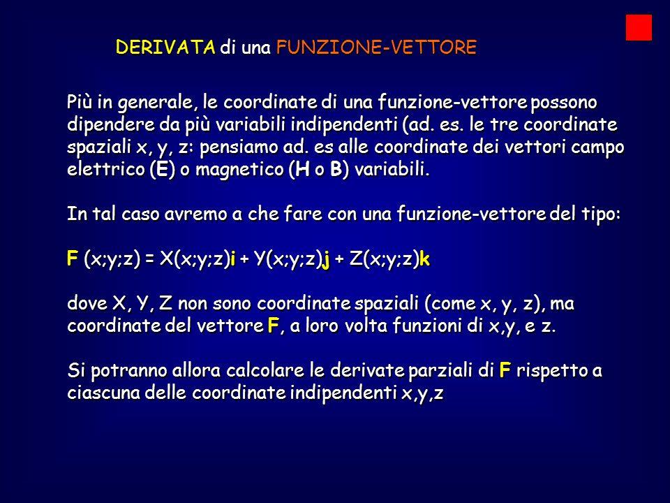 DERIVATA di una FUNZIONE-VETTORE Esempio: Sia data la funzione-vettore: F (x;y;z) = (x 2 y+z 3 )i + 2zj – (xyz) k = (2xy)i– (yz) k = (2xy)i– (yz) k = (x 2 )i– (xz) k = (x 2 )i– (xz) k = (3z 2 )i + 2j – (xy) k