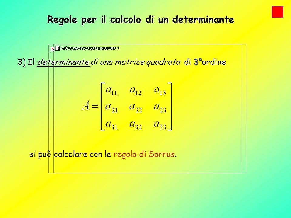 Regole per il calcolo di un determinante Regola di Sarrus Regola di Sarrus (solo per matrici di 3° ordine) Si aggiungano a destra le prime due colonne: Si possono così considerare tre diagonali principali ( ) e tre diagonali secondarie ( )
