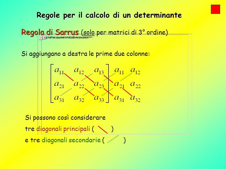 Regole per il calcolo di un determinante Regola di Sarrus Regola di Sarrus (solo per matrici di 3° ordine) Si aggiungano a destra le prime due colonne: Si calcolano i prodotti degli elementi di ogni diagonale principale e si sommano.