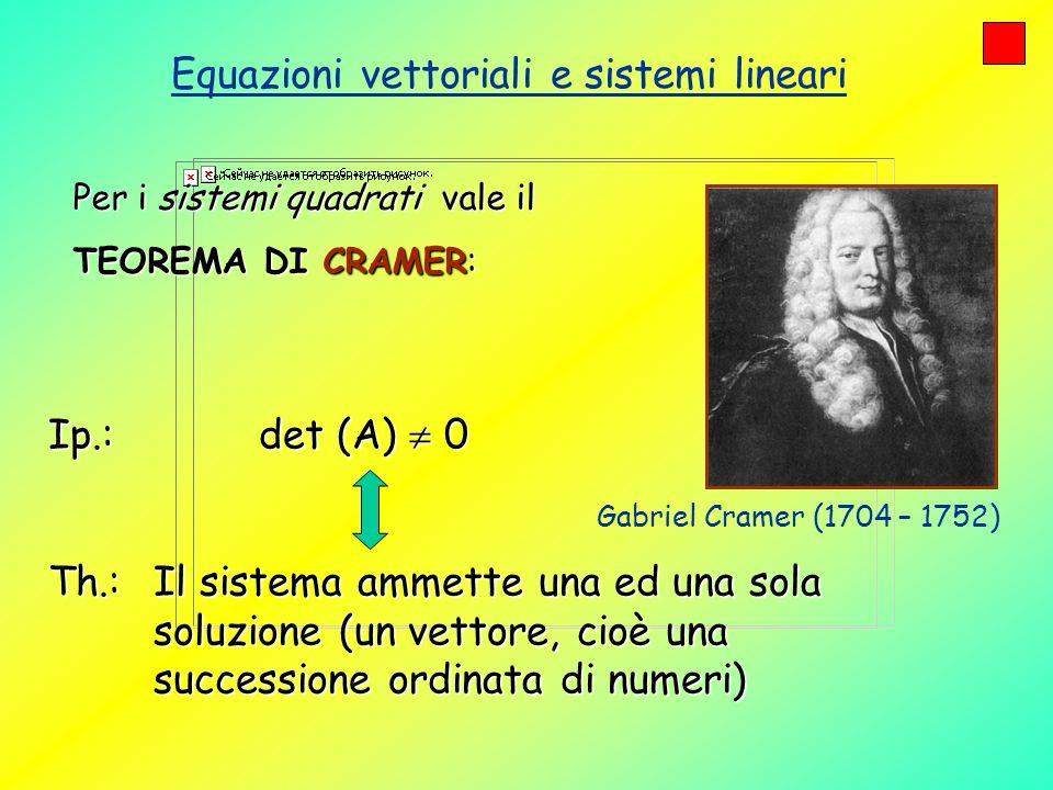 Equazioni vettoriali e sistemi lineari Il teorema di Cramer recita: Condizione necessaria e sufficiente affinché un sistema quadrato ammetta ununica soluzione è che il determinante del sistema sia diverso da zeroCondizione necessaria e sufficiente affinché un sistema quadrato ammetta ununica soluzione è che il determinante del sistema sia diverso da zero Se invece il determinante è uguale a zero il sistema ammette infinite soluzioni oppure nessuna (sistema incompatibile) In questo caso si ricorre al Teorema di Rouché- Cappelli (teorema generale, valido per qualunque sistema lineare, qui non trattato).