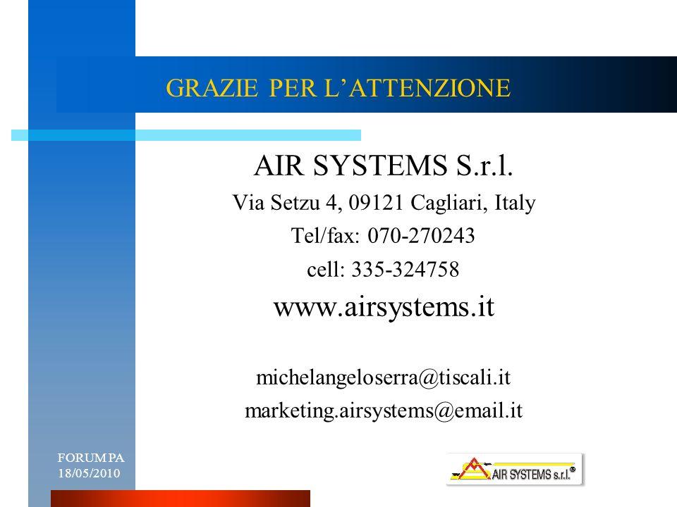 FORUM PA 18/05/201011 GRAZIE PER LATTENZIONE AIR SYSTEMS S.r.l.