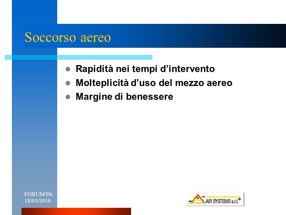 FORUM PA 18/05/20103 Soccorso aereo Rapidità nei tempi dintervento Molteplicità duso del mezzo aereo Margine di benessere