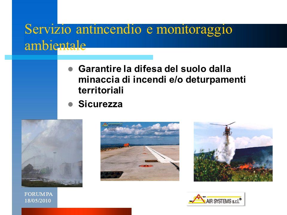 FORUM PA 18/05/20104 Servizio antincendio e monitoraggio ambientale Garantire la difesa del suolo dalla minaccia di incendi e/o deturpamenti territoriali Sicurezza