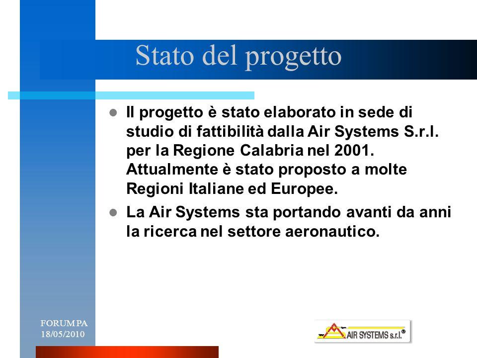 FORUM PA 18/05/20108 Stato del progetto Il progetto è stato elaborato in sede di studio di fattibilità dalla Air Systems S.r.l.