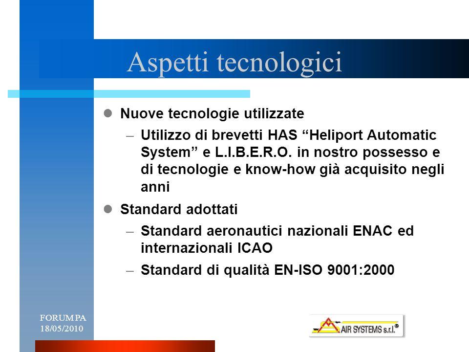 FORUM PA 18/05/20109 Aspetti tecnologici Nuove tecnologie utilizzate –Utilizzo di brevetti HAS Heliport Automatic System e L.I.B.E.R.O.