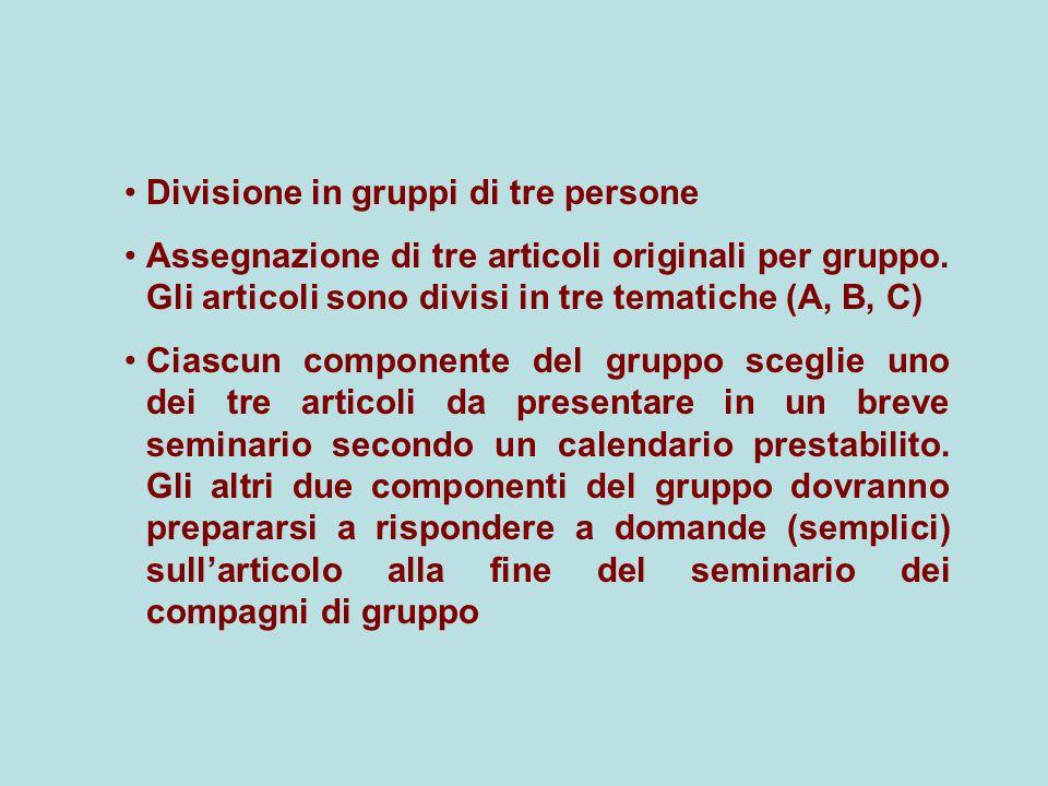 Divisione in gruppi di tre persone Assegnazione di tre articoli originali per gruppo. Gli articoli sono divisi in tre tematiche (A, B, C) Ciascun comp