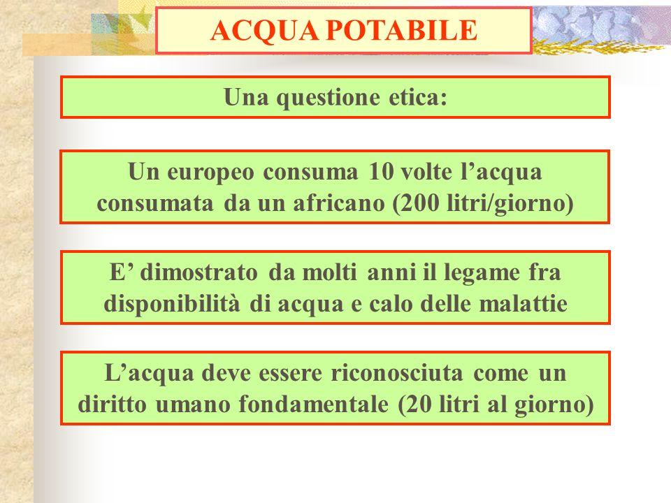 Una questione etica: ACQUA POTABILE Un europeo consuma 10 volte lacqua consumata da un africano (200 litri/giorno) E dimostrato da molti anni il legam