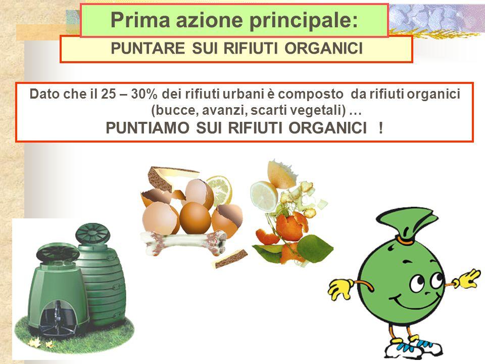Dato che il 25 – 30% dei rifiuti urbani è composto da rifiuti organici (bucce, avanzi, scarti vegetali) … PUNTIAMO SUI RIFIUTI ORGANICI ! PUNTARE SUI