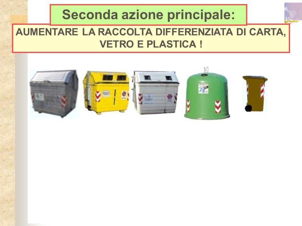 AUMENTARE LA RACCOLTA DIFFERENZIATA DI CARTA, VETRO E PLASTICA ! Seconda azione principale: