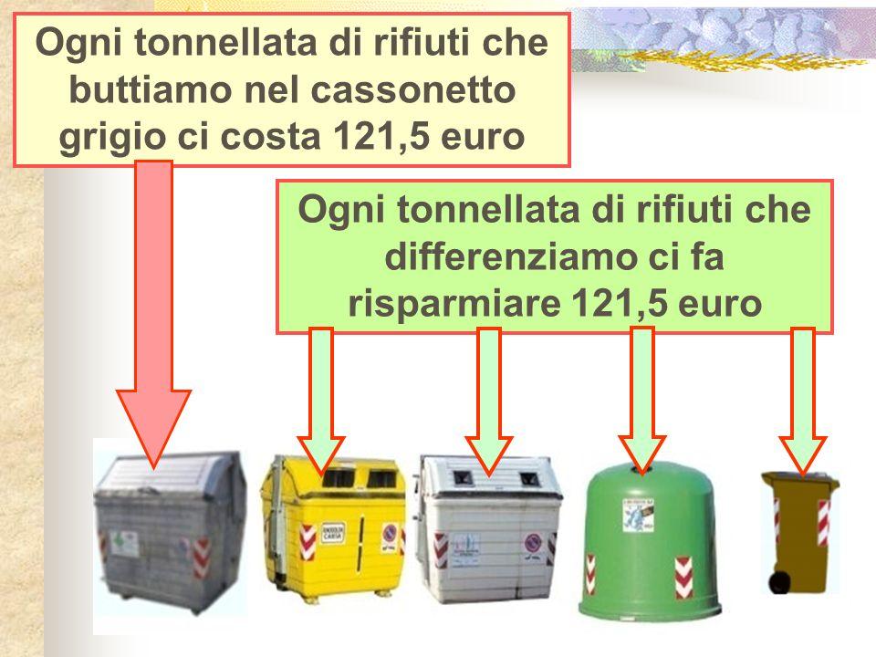 Ogni tonnellata di rifiuti che buttiamo nel cassonetto grigio ci costa 121,5 euro Ogni tonnellata di rifiuti che differenziamo ci fa risparmiare 121,5