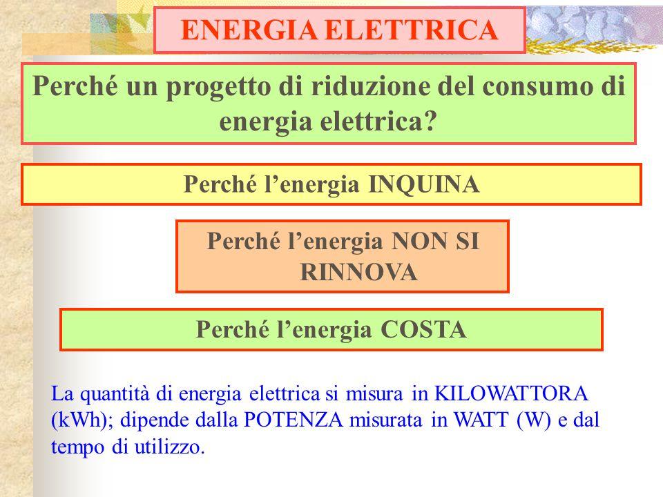 Perché lenergia COSTA Perché un progetto di riduzione del consumo di energia elettrica? Perché lenergia INQUINA Perché lenergia NON SI RINNOVA ENERGIA