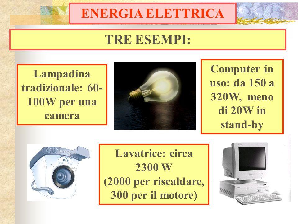 TRE ESEMPI: ENERGIA ELETTRICA Lampadina tradizionale: 60- 100W per una camera Computer in uso: da 150 a 320W, meno di 20W in stand-by Lavatrice: circa