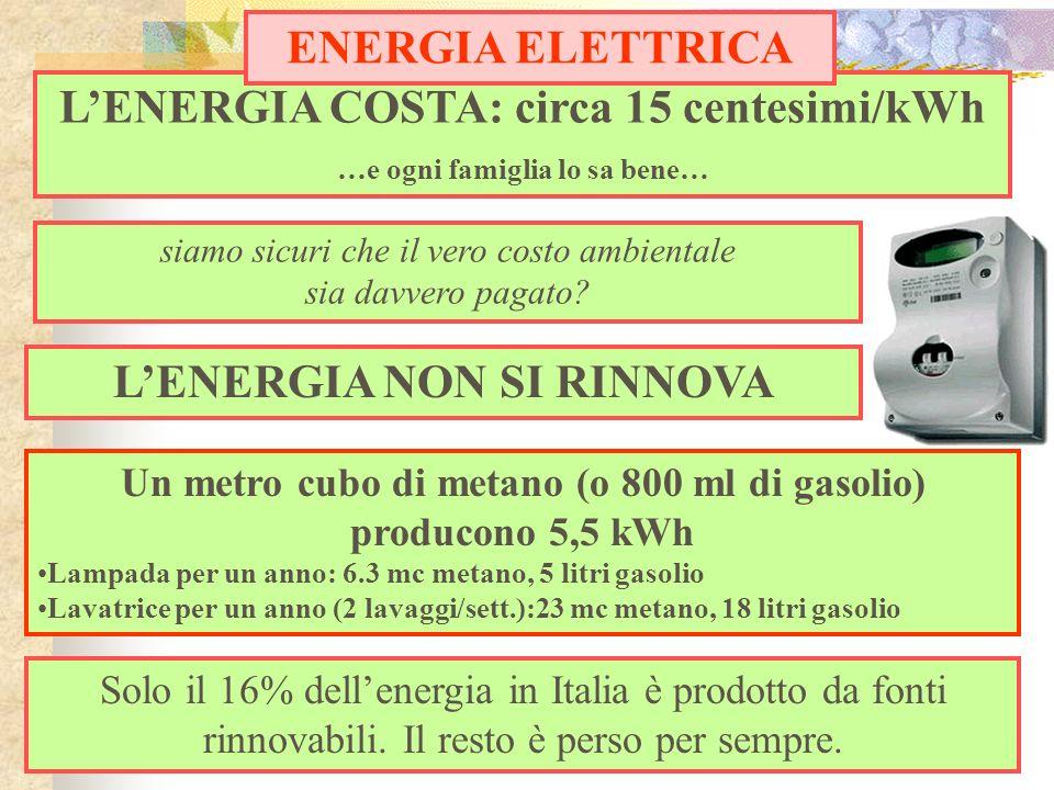 LENERGIA COSTA: circa 15 centesimi/kWh …e ogni famiglia lo sa bene… ENERGIA ELETTRICA siamo sicuri che il vero costo ambientale sia davvero pagato? LE