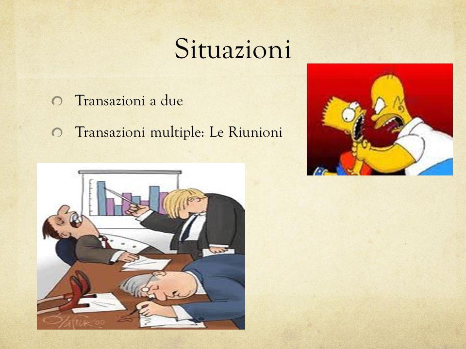 Situazioni Transazioni a due Transazioni multiple: Le Riunioni