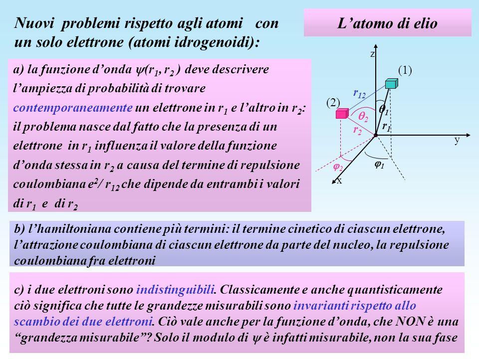 Lhamiltoniana dellelio In linea di principio, il problema di determinare la funzione donda (r 1, r 2 ) non ha soluzioni perché non si può definire il valore della funzione donda in r 1 dato che esso dipende dal valore della funzione donda stessa in r 2 a causa del termine di repulsione coulombiana e 2 / r 12 che dipende da entrambi i valori di r 1 e di r 2 Equazione di Schroedinger: z y r1r1 x 1 1 r2r2 2 2 r 12 (1) (2)