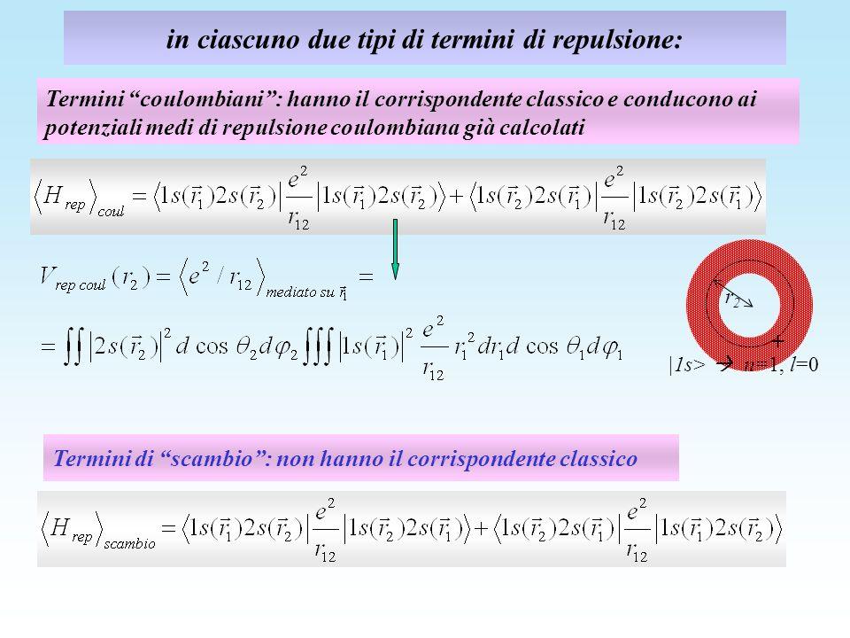 in ciascuno due tipi di termini di repulsione: Termini di scambio: non hanno il corrispondente classico Termini coulombiani: hanno il corrispondente c