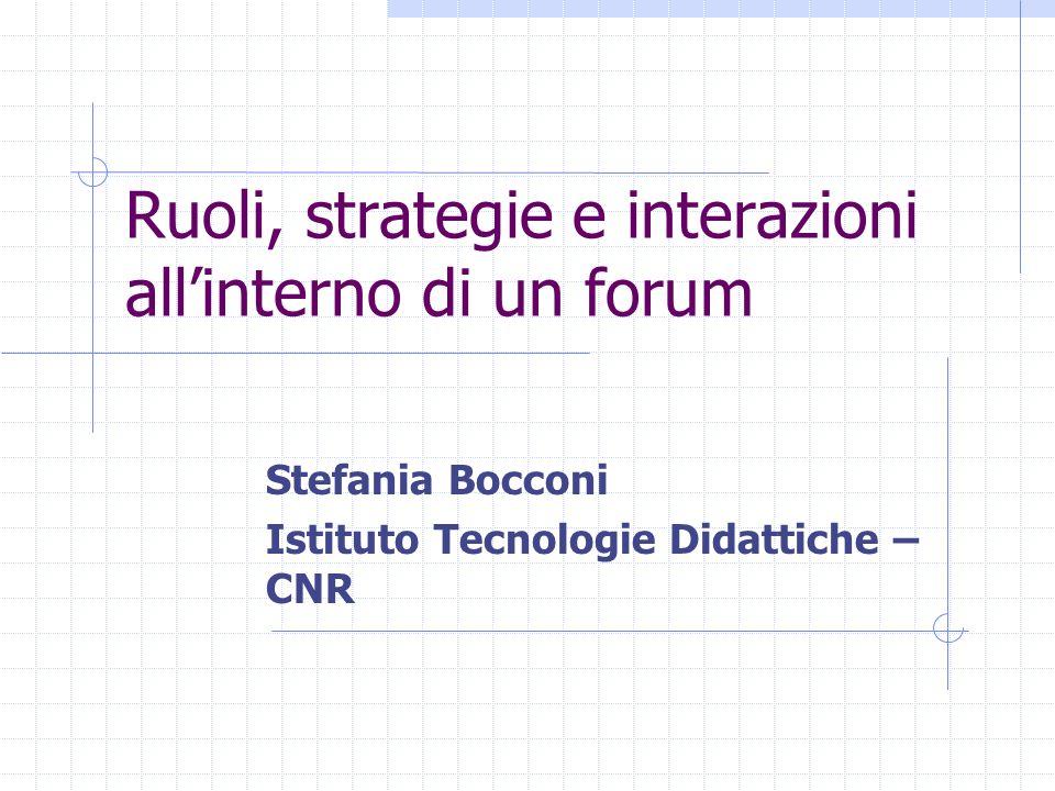 Ruoli, strategie e interazioni allinterno di un forum Stefania Bocconi Istituto Tecnologie Didattiche – CNR