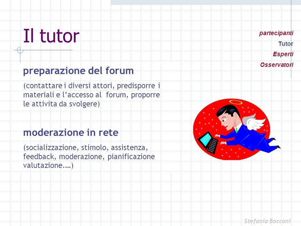 preparazione del forum (contattare i diversi attori, predisporre i materiali e laccesso al forum, proporre le attivita da svolgere) moderazione in ret