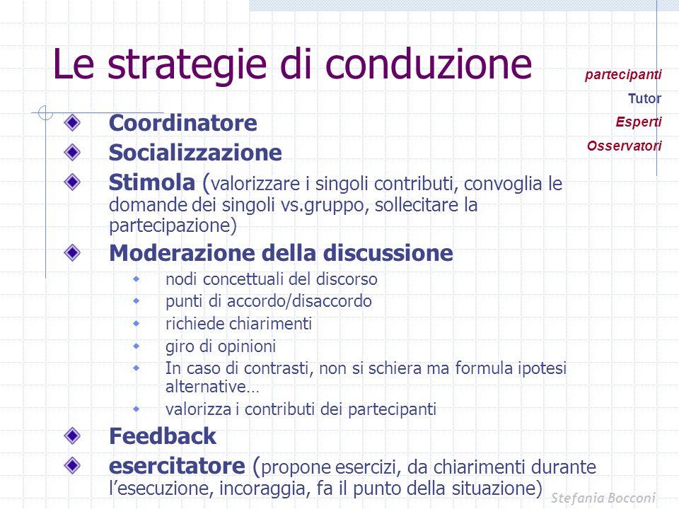 Le strategie di conduzione Coordinatore Socializzazione Stimola ( valorizzare i singoli contributi, convoglia le domande dei singoli vs.gruppo, sollec