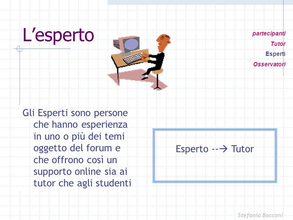 Gli Esperti sono persone che hanno esperienza in uno o più dei temi oggetto del forum e che offrono così un supporto online sia ai tutor che agli stud
