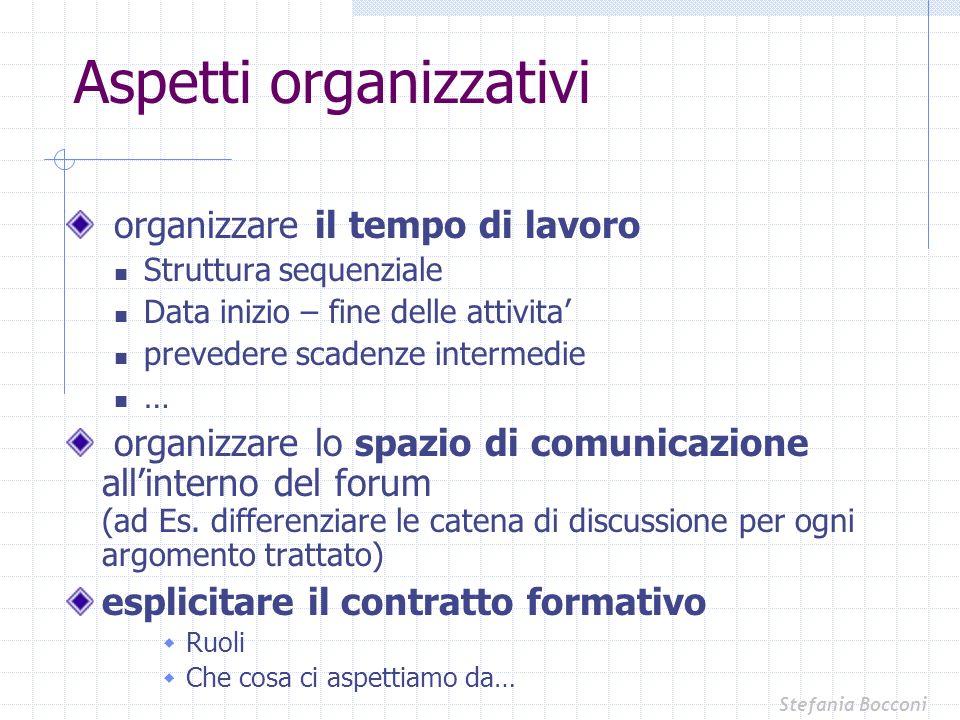 Aspetti organizzativi organizzare il tempo di lavoro Struttura sequenziale Data inizio – fine delle attivita prevedere scadenze intermedie … organizza