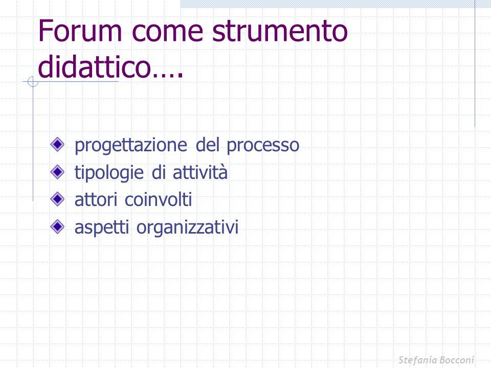Forum come strumento didattico…. progettazione del processo tipologie di attività attori coinvolti aspetti organizzativi Stefania Bocconi
