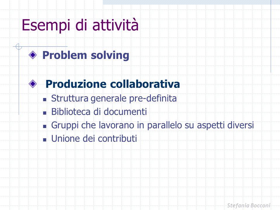 Esempi di attività Problem solving Produzione collaborativa Struttura generale pre-definita Biblioteca di documenti Gruppi che lavorano in parallelo s