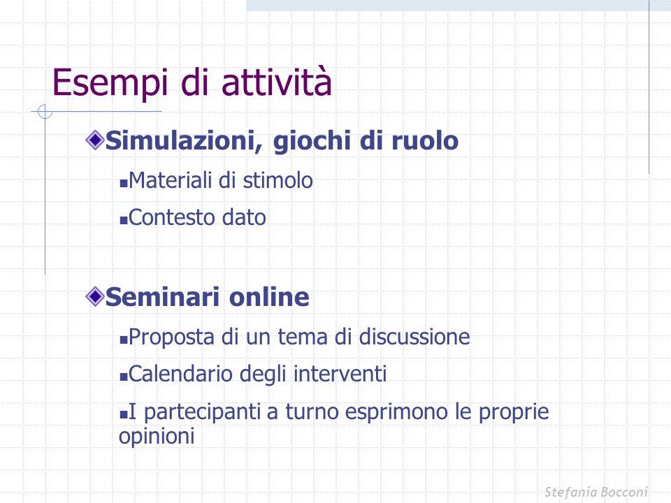 Simulazioni, giochi di ruolo Materiali di stimolo Contesto dato Seminari online Proposta di un tema di discussione Calendario degli interventi I parte