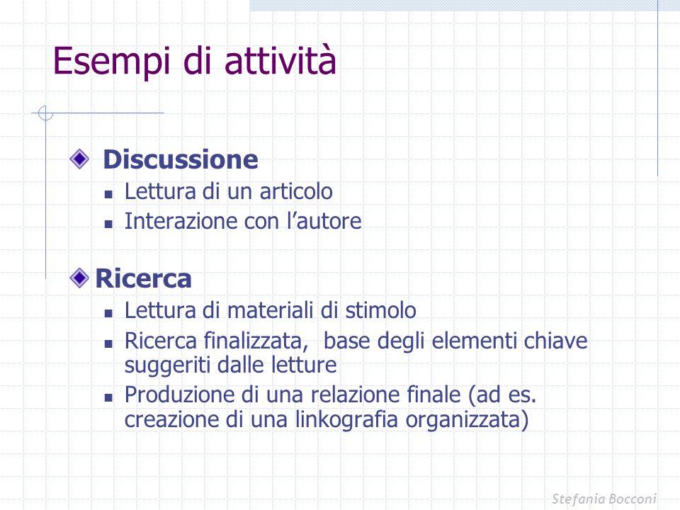Discussione Lettura di un articolo Interazione con lautore Ricerca Lettura di materiali di stimolo Ricerca finalizzata, base degli elementi chiave sug