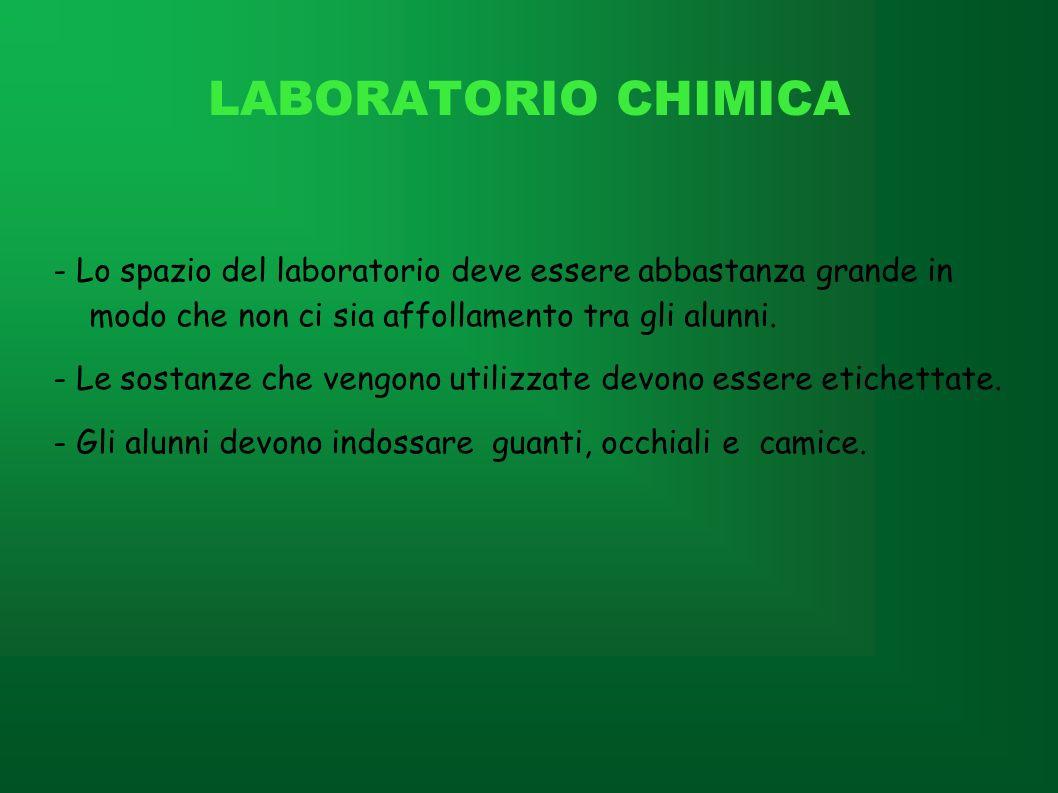 LABORATORIO CHIMICA - Lo spazio del laboratorio deve essere abbastanza grande in modo che non ci sia affollamento tra gli alunni. - Le sostanze che ve