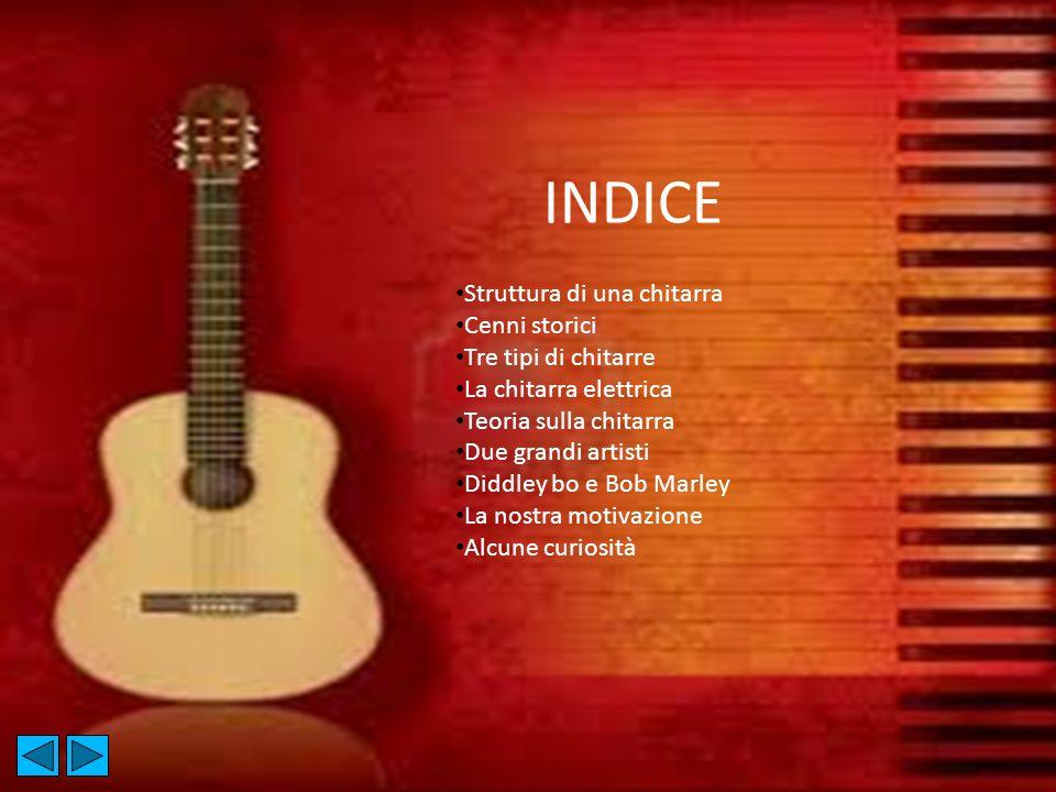 INDICE Struttura di una chitarra Cenni storici Tre tipi di chitarre La chitarra elettrica Teoria sulla chitarra Due grandi artisti Diddley bo e Bob Ma