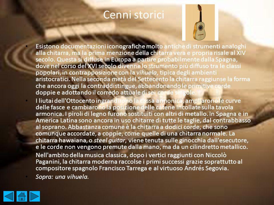 2 CENNI STORICI-ORIGINI Esistono documentazioni iconografiche molto antiche di strumenti analoghi alla chitarra, ma la prima menzione della chitarra v