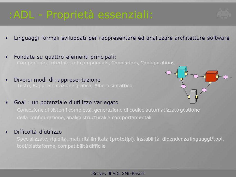 :ADL - Proprietà essenziali: Linguaggi formali sviluppati per rappresentare ed analizzare architetture software Fondate su quattro elementi principali