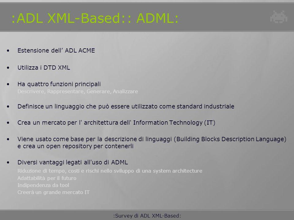 :Survey di ADL XML-Based: :ADL XML-Based:: xADL 2.0: ADL specializzata nella descrizione dell architettura di famiglie di prodotti Modulare, definita da una collezione di XML Schema xArch Elemento essenziale per la descrizione architetturale Meccanismo di composizione, di raggruppamento e di collegamento fondato su xLink Structures & Types Meccanismo di tipizzazione ed instanziazione Meccanismo di composizione Extensions Implementazione, PLA (variantes, versions, options)