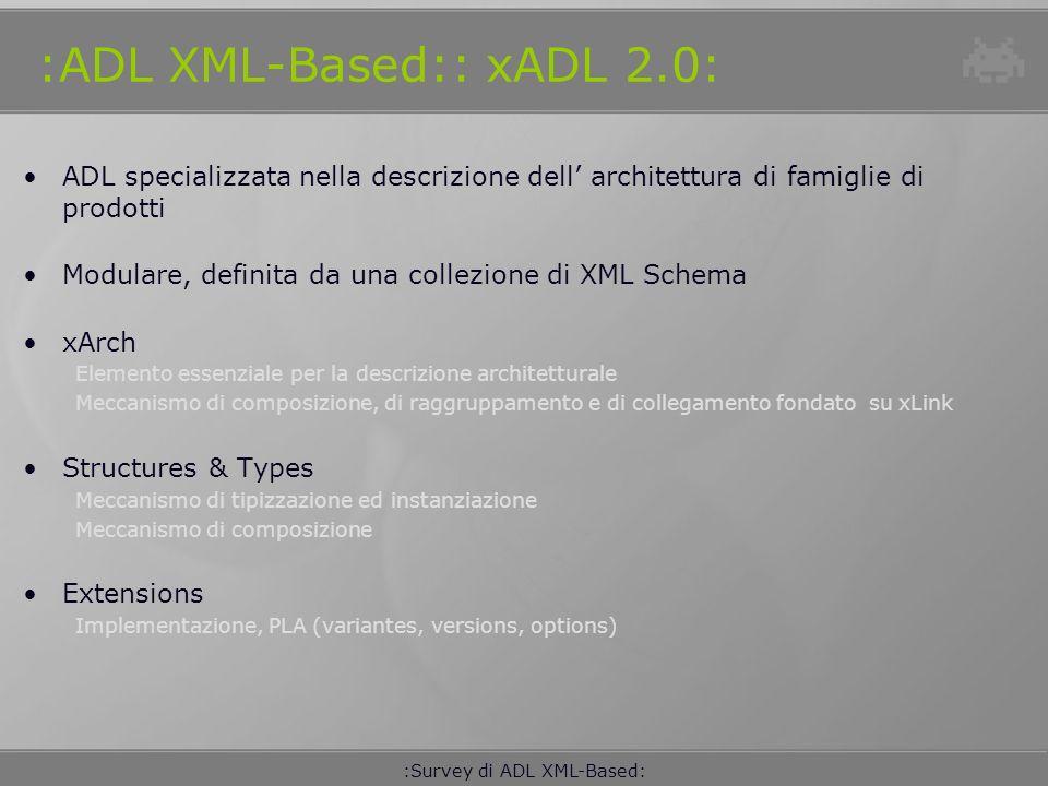 :Survey di ADL XML-Based: :ADL XML-Based:: xADL 2.0: Languaggi e tool XML Spy Editor degli xADL2.0 Schema Apigen Compilatore XML Java Data Binding xarchlibs Classi e interfacce derivate da xADL2.0 ArchStudio 3 Ambiente di sviluppo XML Spy instances conforms Apigen Libreries xarchlibs ArchStudio 3 ParsingTratements Schemas xADL 2.0 Description xADL2.0 In memory Model