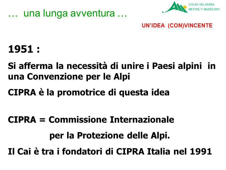 1951 : Si afferma la necessità di unire i Paesi alpini in una Convenzione per le Alpi CIPRA è la promotrice di questa idea … una lunga avventura … CIPRA = CI CIPRA = Commissione Internazionale PA per la Protezione delle Alpi.