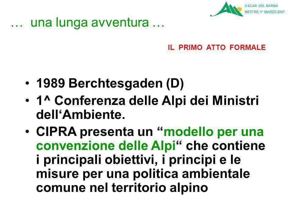 OSCAR DEL BARBA MESTRE, 1° MARZO 2007 Articolo 6: Compiti della Conferenza delle Alpi La Conferenza delle Alpi esamina lo stato di attuazione della Convenzione, nonché dei Protocolli con gli allegati, e espleta nelle sue sessioni in particolare i seguenti compiti: a)Adotta le modifiche della presente Convenzione in conformità con la procedura di cui all articolo 10.