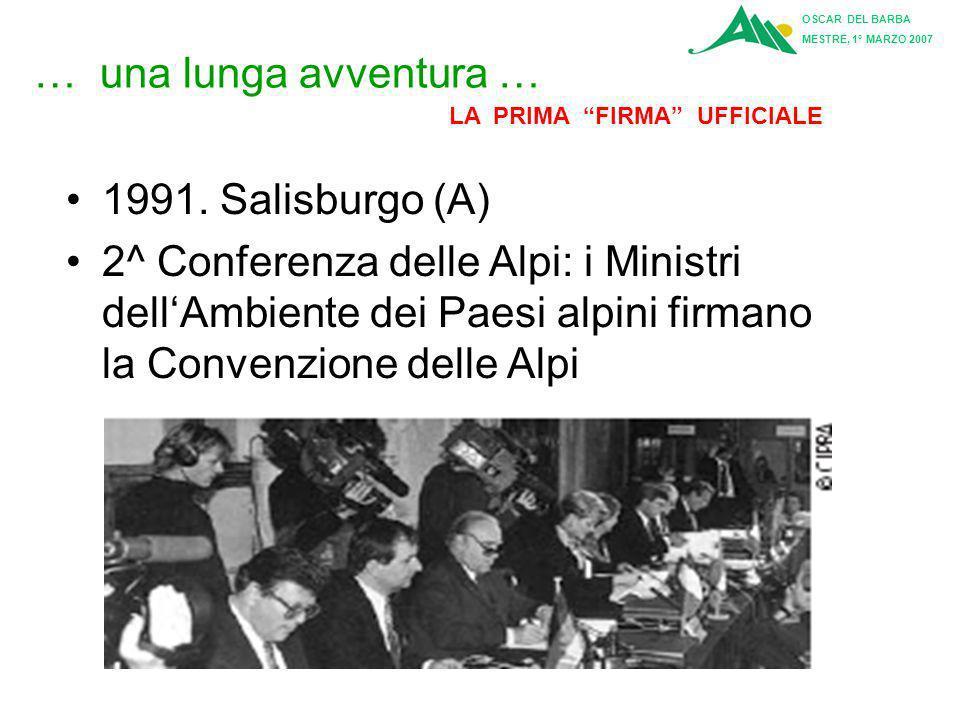 … una lunga avventura … 1989 Berchtesgaden (D) 1^ Conferenza delle Alpi dei Ministri dellAmbiente. CIPRA presenta un modello per una convenzione delle
