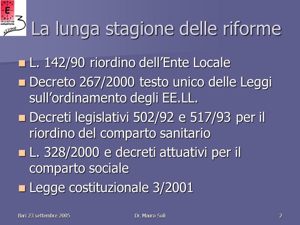Dr. Mauro Soli2 La lunga stagione delle riforme L.