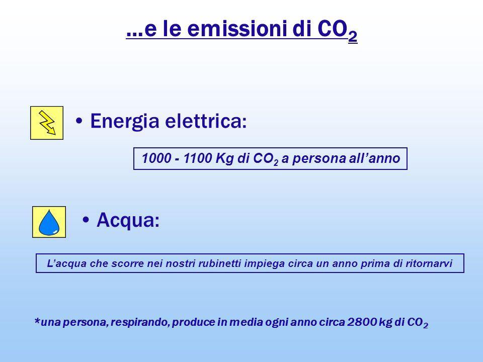 …e le emissioni di CO 2 Energia elettrica: Acqua: 1000 - 1100 Kg di CO 2 a persona allanno Lacqua che scorre nei nostri rubinetti impiega circa un ann