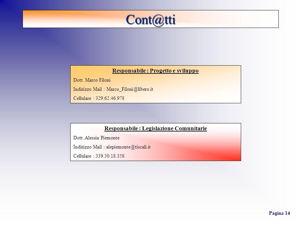 Responsabile : Progetto e sviluppo Dott. Marco Filoni Indirizzo Mail : Marco_Filoni@libero.it Cellulare : 329.62.46.978 Responsabile : Legislazione Co