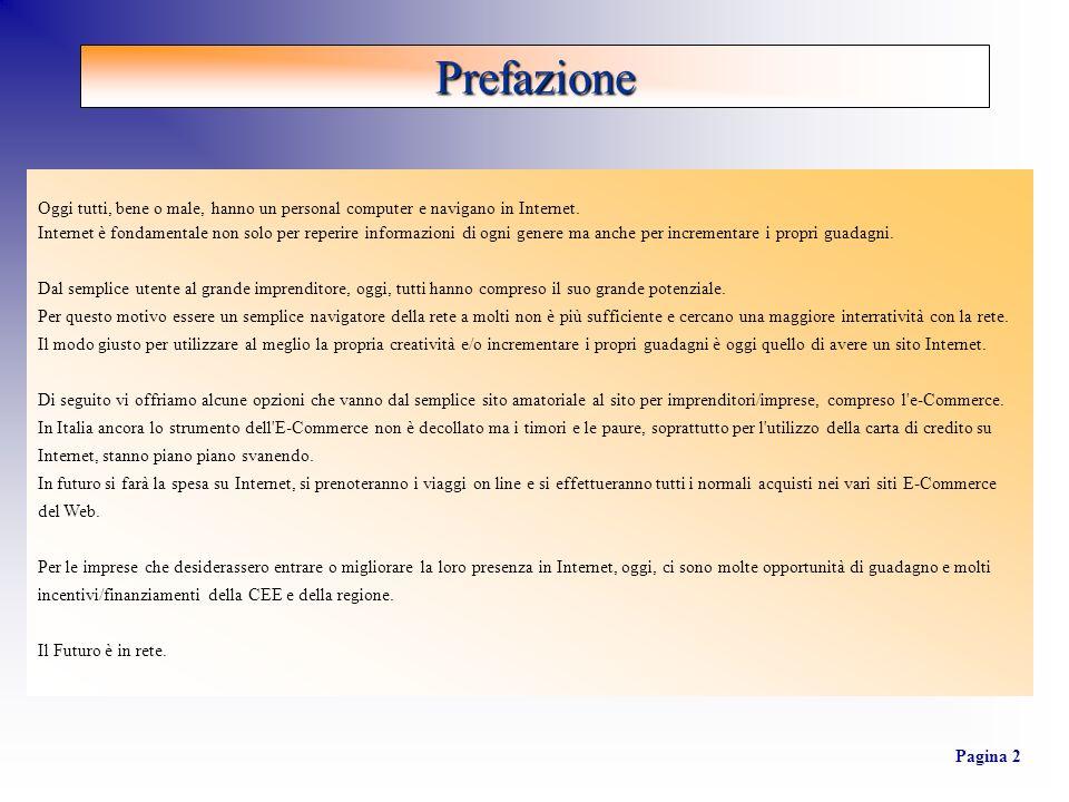 Prefazione Pagina 3 DominioInternet Costruzione del Sito Internet Implementazione E- Commerce Richiesta Contributi : Comunitari, Statali, Regionali STEP 1 STEP 2 STEP 3