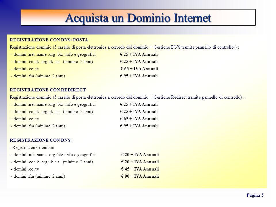 REGISTRAZIONE CON DNS+POSTA Registrazione dominio (5 caselle di posta elettronica a corredo del dominio + Gestione DNS tramite pannello di controllo )