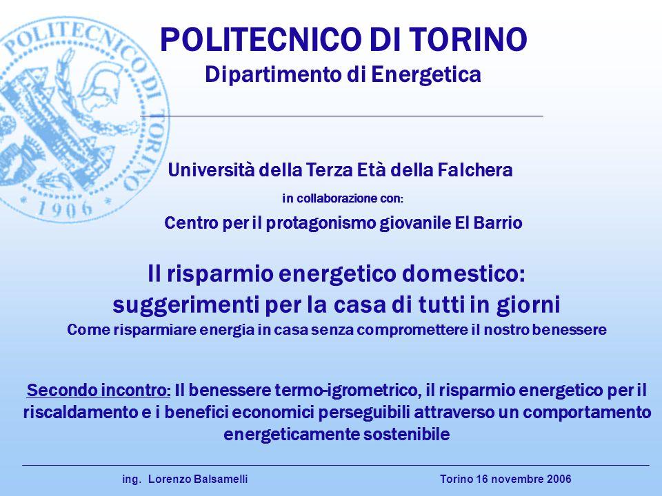 Torino 16 novembre 2006 ing. Lorenzo Balsamelli Secondo incontro: Il benessere termo-igrometrico, il risparmio energetico per il riscaldamento e i ben
