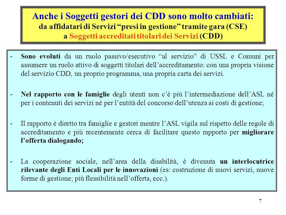 7 Anche i Soggetti gestori dei CDD sono molto cambiati: da affidatari di Servizi presi in gestione tramite gara (CSE) a Soggetti accreditati titolari